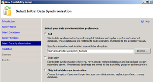 Initial Data Synchronization